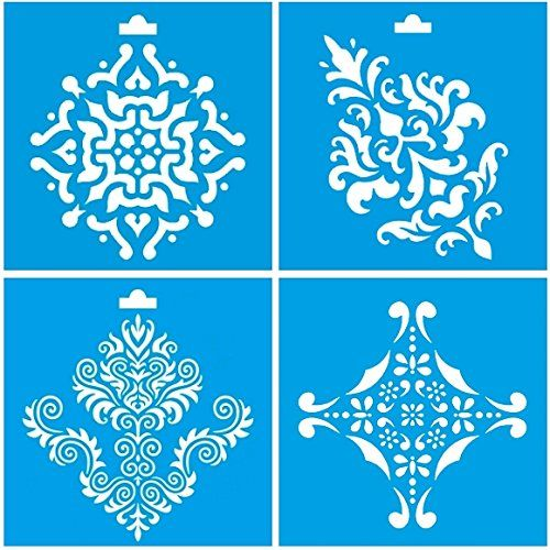 Set of 4 - 10cm x 10cm Reusable Flexible Plastic Stencil for Graphical Design Airbrush Decorating Wall Furniture Fabric Decorations Drawing Drafting Template - Vintage Tile Flowers Leaves Ornament Litoarte http://www.amazon.co.uk/dp/B00PUS1KGK/ref=cm_sw_r_pi_dp_-mZ0vb1A60Y99