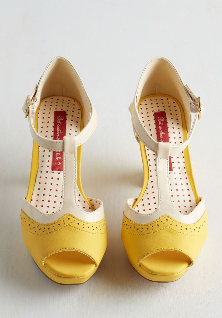 Secret Recipe Swap Heel. As cherished as your favorite family recipe, these lemon yellow mid heels by Bait Footwear are a delectable pair! #yellow #modcloth