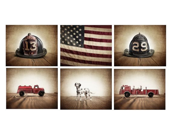 The Fireman Setof 6 Canvas Prints, Fireman themed decor, Boys Room Decor, Fire truck Wall Art