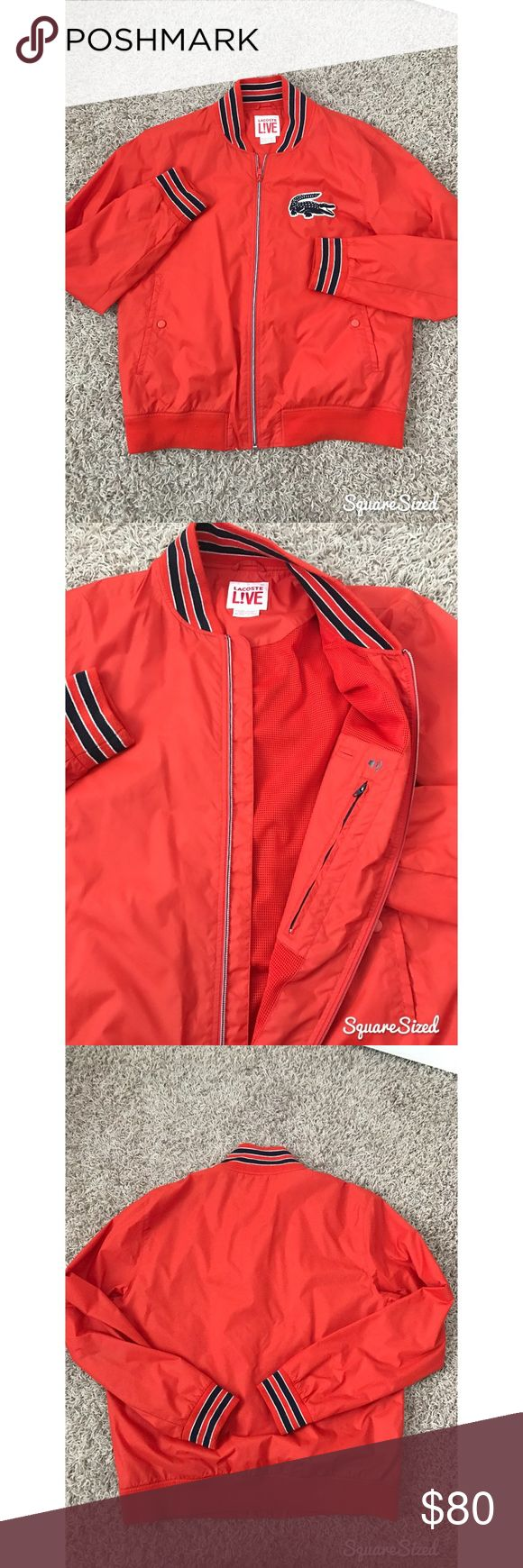 Bright Orange Lacoste Bomber Jacket Perfect condition! Worn a few times but it looks brand new! This is a slim fit jacket! Lacoste Jackets & Coats Bomber & Varsity