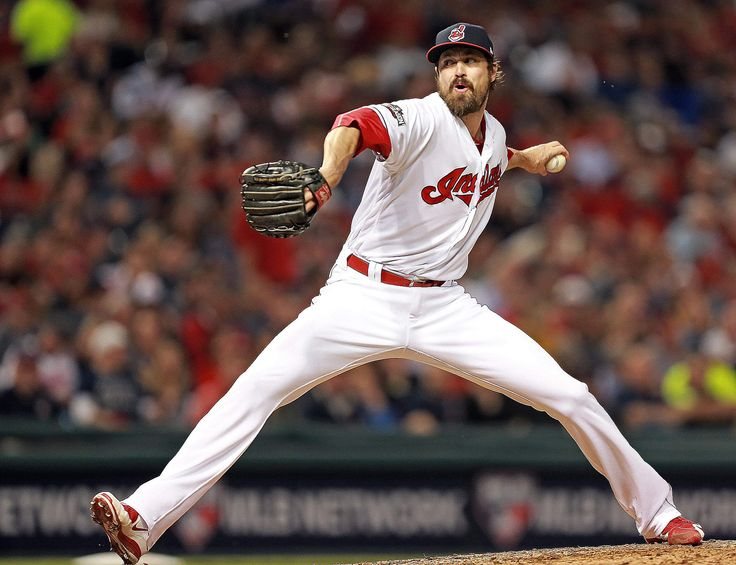 Credit: Matt Stone    Cleveland Indians pitcher Andrew Miller pitches during the sixth inning of Game 1 of the ALDS against the Boston Red Sox at Progressive Field on Thursday, October 06, 2016.