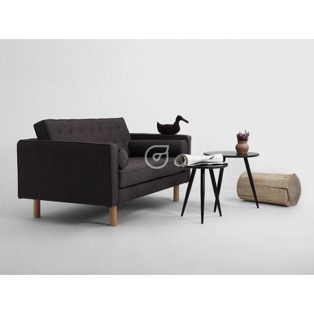 Sofa Topic Wood - 2 os. rozkł., karbon, naturalny