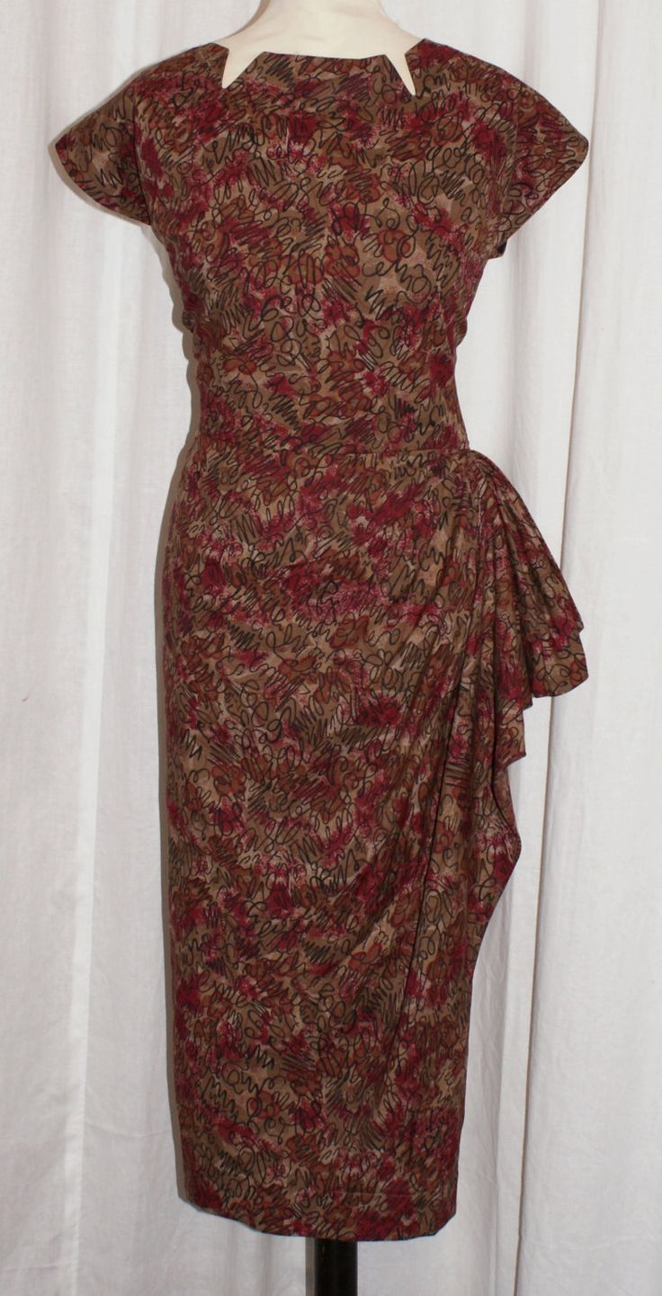 Vintage 1950s inspired faux sarong wrap wiggle dress in atomic print L VLV rockabilly by OuterLimitz on Etsy