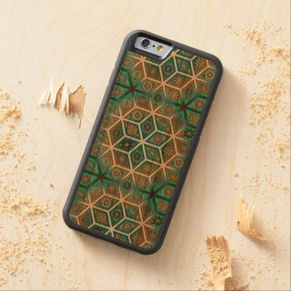 #Vintage patchwork with floral mandala elements carved cherry iPhone 6 bumper case - #girly #iphone #cases