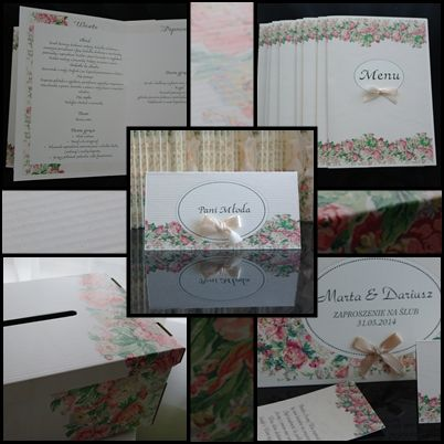 menu, zaproszenia, winietki, pudło na prezenty
