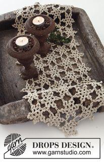 "DROPS Christmas 2013: Crochet DROPS table runner in ""Cotton Viscose"". ~ DROPS Design"