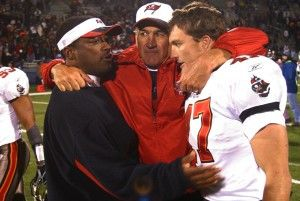 Mike Tomlin, Monte Kiffin and John Lynch – Photo by: Cliff Welch/PR
