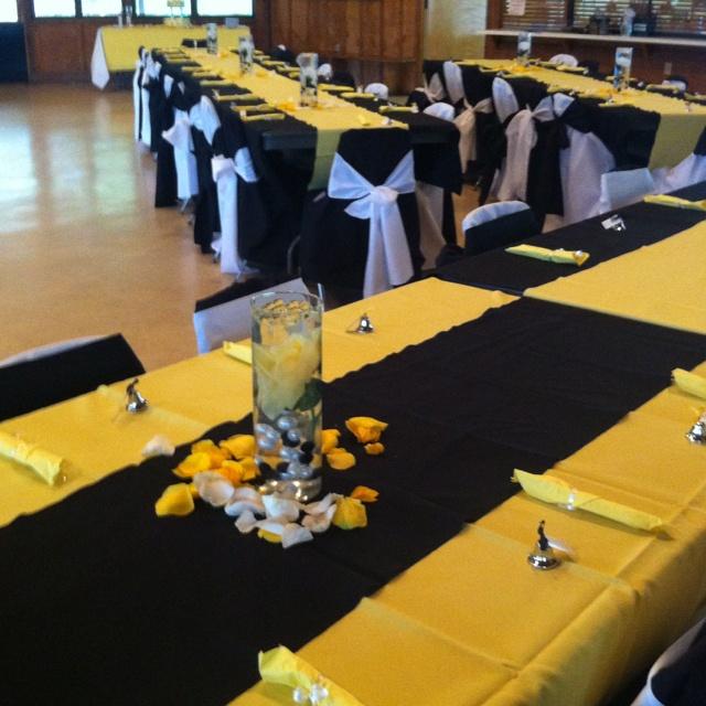Yellow black white wedding  Ideas  Wedding colors Wedding decorations Sunflower Wedding