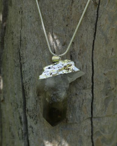 Smokey Quartz Crystal Druzy on Sterling Silver Snake Chain – Bohemian Tapestry
