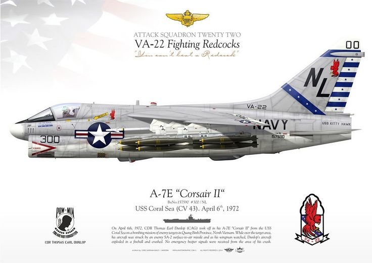 "UNITED STATES NAVY ATTACK SQUADRON TWENTY TWO (VA-22) ""Fighting Redcocks""USS Coral Sea (CV 43). Flown by CDR Thomas Earl Dunlop (CAG) was hot down over North Vietnam on April 6th, 1972"
