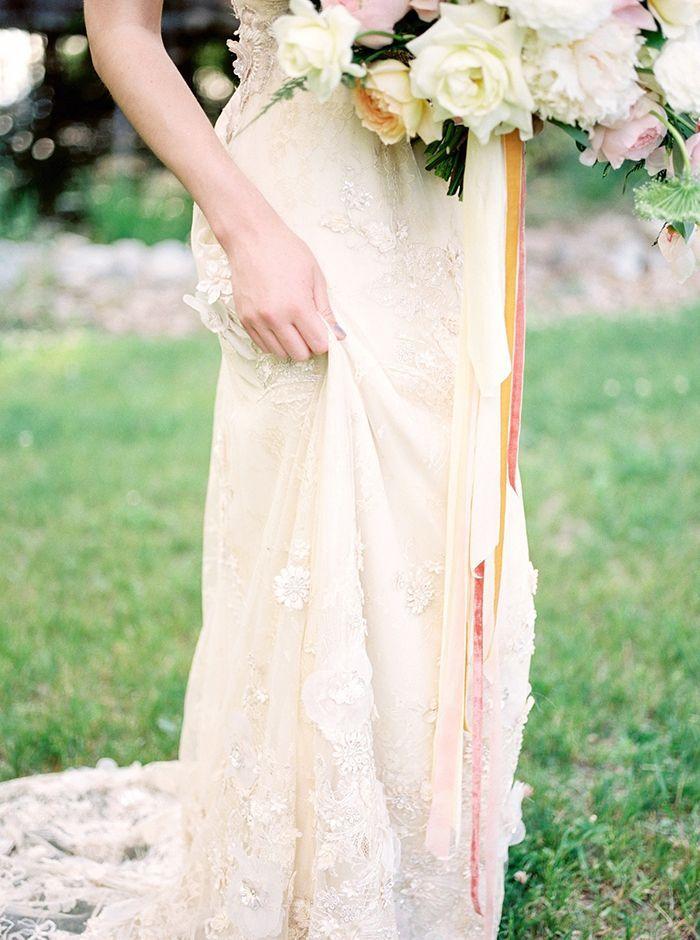 Champagne Embroidered Wedding Dress    #wedding #weddingideas #engaged #bride #weddingdress #bouquet