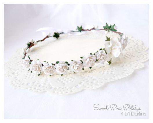 White Blossom Petite Crown-flower crown, newborn, floral halo