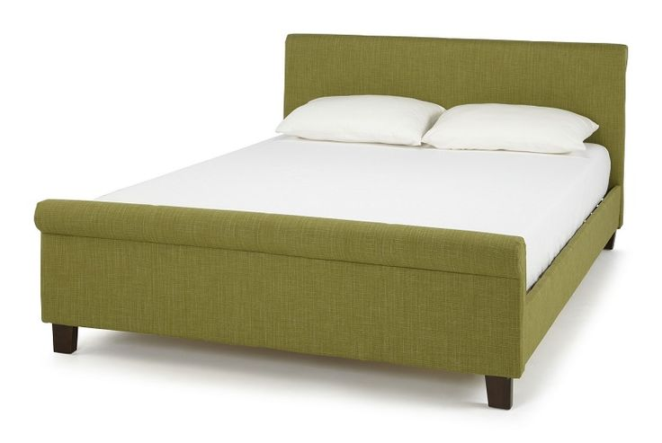 The Hazel bed frame upholstered in an olive linen fabric. This classically designed frame offers a stylish look for any bedroom and would compliment many interiors.
