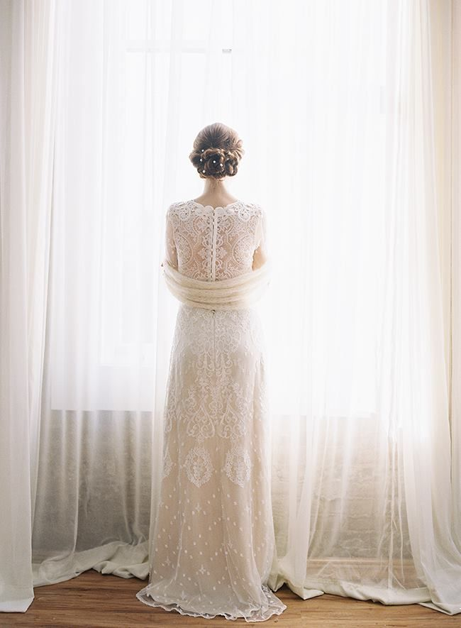 Claire Pettibone 'Lily' wedding dress, Still Life Collection http://www.clairepettibone.com/bridal/?cp=gowns/lily & Erica Elizabeth Designs String of Freshwater Pearl Hair Adornment
