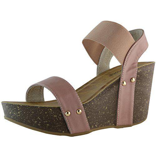 DailyShoes Womens Wedge Platform Slide On Comfort Ankle Elastic Strap Sandal Buckle Shoes