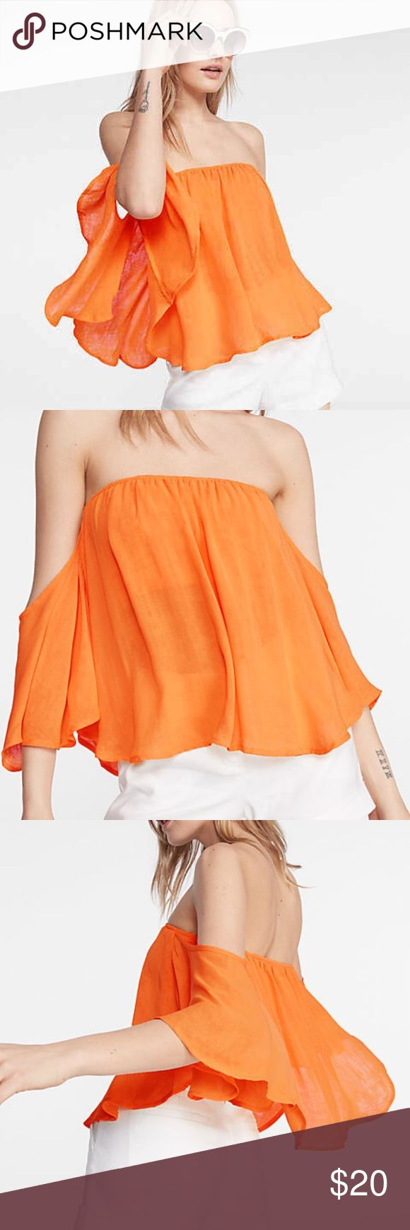 Express off the shoulder top nwot small Never been worn. Reviews are from Express website where this top is still for sale for $49.90. Express Tops Blouses
