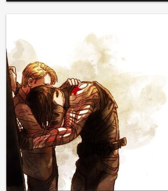 Steve and Bucky. This picture is so sad :'( makes me wonder what's going to happen. I mean it'll be great if he gets all him memories back cause they can reunite, but it'll also be terrible cause he'll remember all the awful things he's done and will probably have a hard time recovering. *tears*<<It's small Steve too!