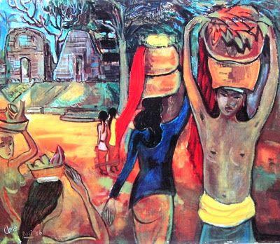 """Wanita-wanita Bali pulang dari pasar"" by Arie smit, Medium: oil on canvas, Size: 60cm x 70cm"
