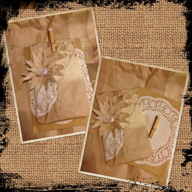 First attempt at making own gift bag & matching envelope. To make this you will need  ~  1 x brown envelope 2 x different size paper doilies 2 x buttons 1 x wooden peg 1 x sheet paper (gift,newspaper,craft etc) Glue Invisible tape Scissors  Have fun gifting!  ;)