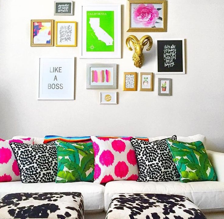 Bright, bold and beautiful pillows! Perfect styling and mixture of color and pattern