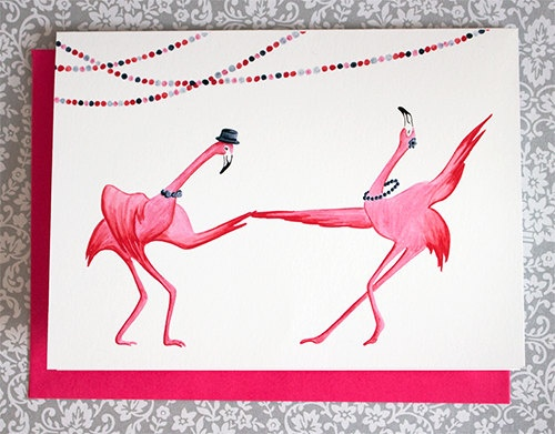 Flamingo greeting card, Swing!  Amelie Legault