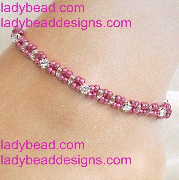 Rose Metallic Czech Seed Beaded Anklet with Swarovski Rhinestones http://ladybead.com/contents/en-us/d8_anklet_crystal_bead_jewelry.html