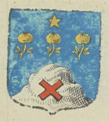 TABOUR, chanoine en l'église de Saint-Laurent de la ville de Salon. Porte d'azur, à une montagne d'argent, mouvante de la pointe de l'écu, chargé d'un sautoir alaisé de gueules, et, accompagné, en chef, de trois pommes rangées d'or, tigées et feuillées de même, les tiges en bas le tout ; surmonté d'une étoile d'or, posée au milieu du chef   N° 1562