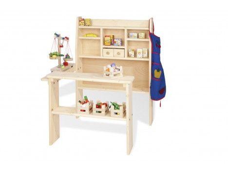 Pinolino, Kaufladen, Holz, Massiv, unbehandelt, mit 2 kleinen Schubladen, 2-7 Jahre