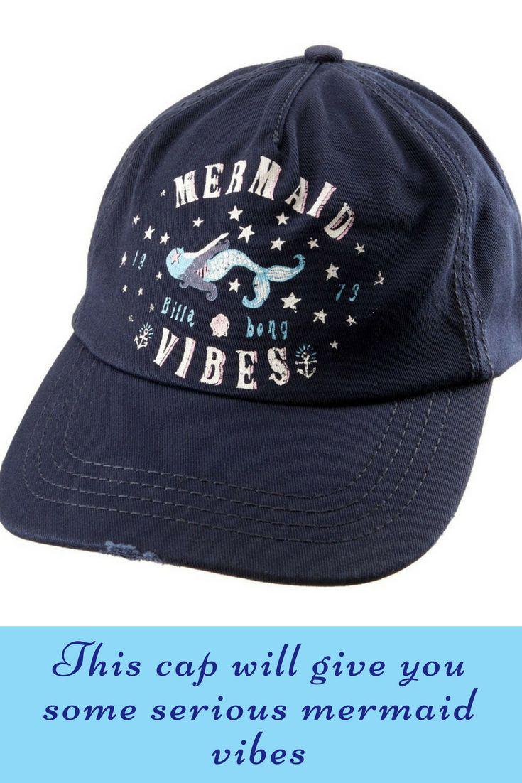 Billabong girl's surf cap featuring a mermaid and some serious vibes. #commissionlink #Mermaid #baseballcap #billabongwomens