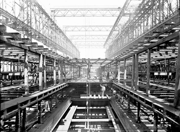 Rare view of Titanic's internal construction, 1910. Description from pinterest.com. I searched for this on bing.com/images