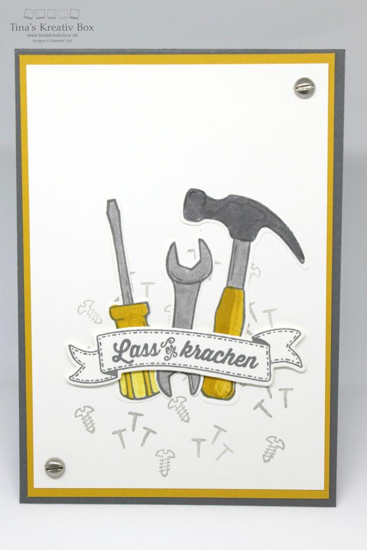 Männer Karte Hammer mit Produkten von Stampin' Up!