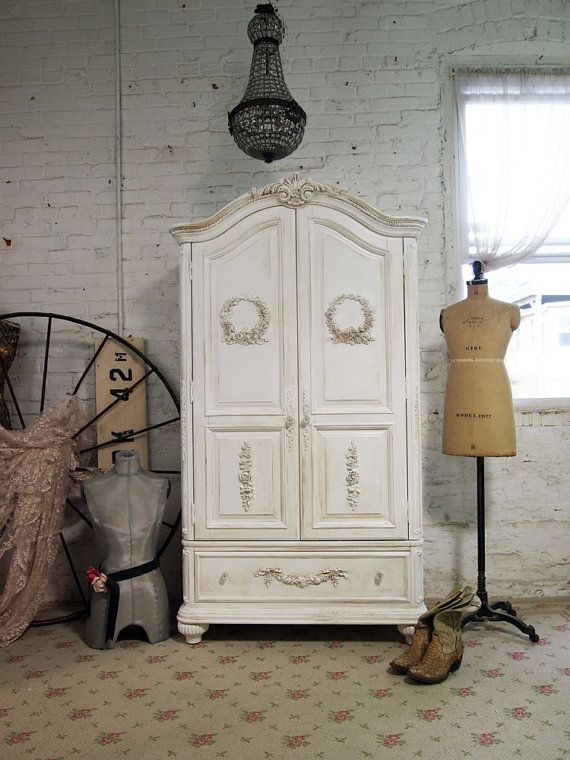 Painted cottage french armoire and armoires on pinterest - Armoire style romantique ...