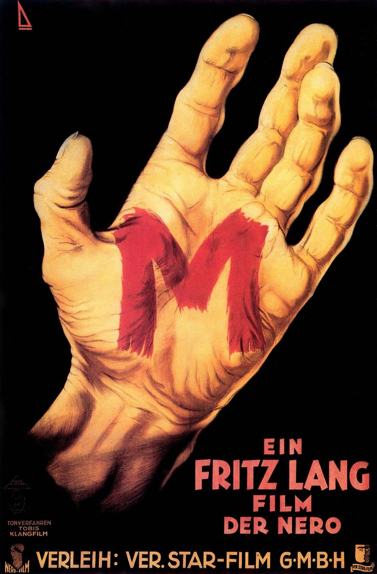 "— ""M"" movie poster. Directed by Fritz Lang"