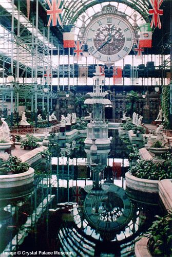 Crystal Palace - South End Nave with Osler's Fountain and the Great Clock Photographed in Dufay colour by Arthur Talbot – London August 1936