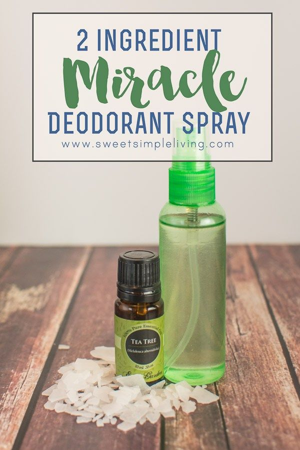 2 ingredient miracle deodorant spray I go sans deodorant and anti-perspirant all the time but this one might be a nice option. This blog also has very good links for additional information and facts.