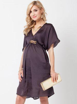 Angel Maternity Maternity Evening Dress in Brushed Satin - Dark Grey.jpg