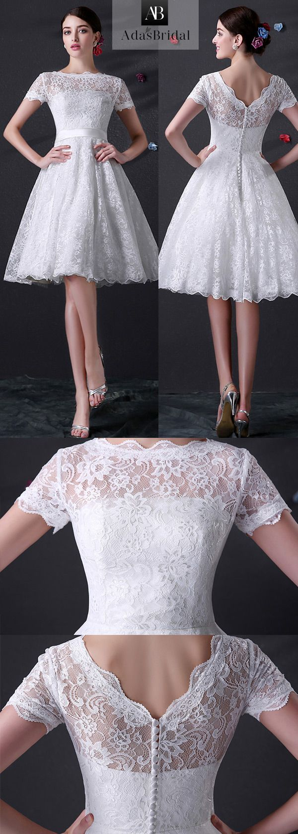 Knee length full lace wedding dress with short sleeves. Whole lace let you be more female, bowknot makes you lovely. (WWD49630) - Adasbridal.com