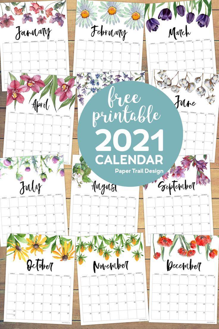 2021 Free Printable Calendar Floral Paper Trail Design In 2020 Free Printable Calendar Planner Printables Free Printable Calendar