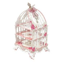 Pink Fairy Party Cupcake Stand with a Birdcage design featuring floral illustrations! Available at Via Blossom