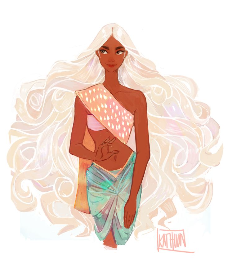 kathuon:Character design of an Apsara! According to Hindu and Buddhist mythology, Apsaras were the beautiful female personifications of clouds and rivers. This young lady is a cloud spirit <that's why her hair is so fluffy> and her design is mainly influenced by Cambodian and Thai traditional appearal.