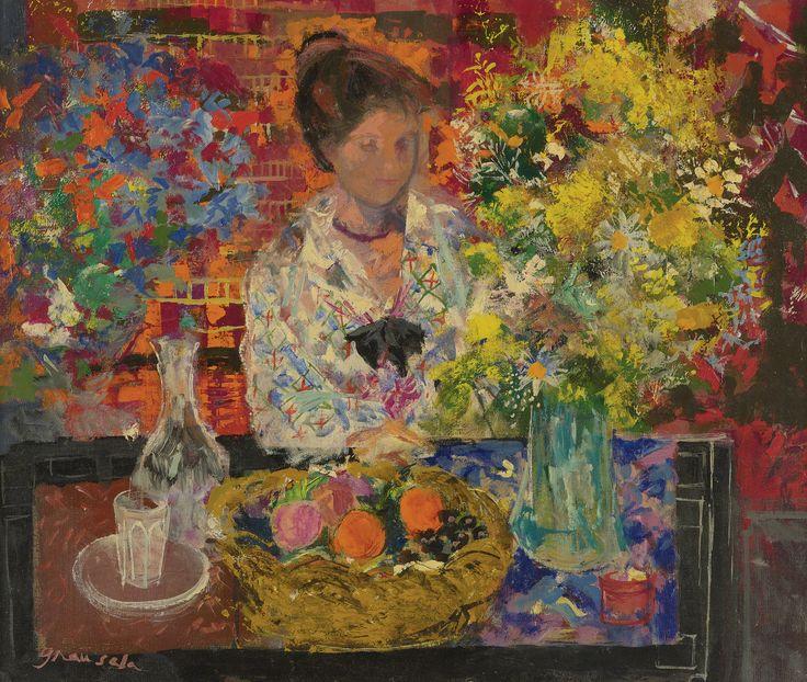 Emilio Grau Sala. Interiror with Flowers, 1967- яркий представитель французской школы постимпрессионизма первой половины ХХ века