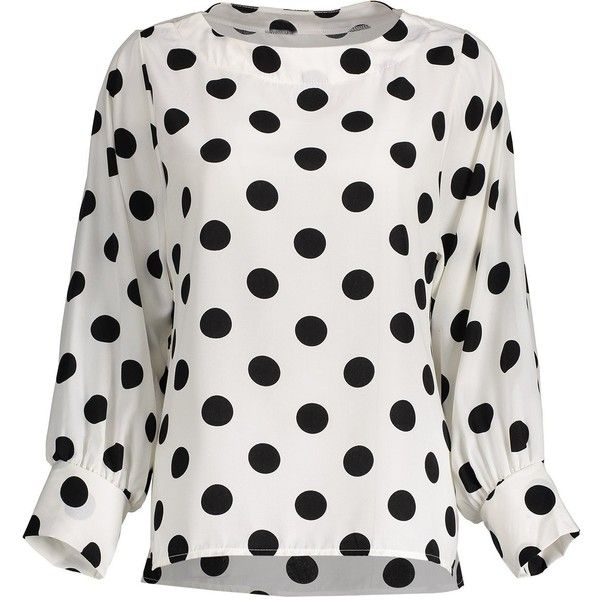 Polka Dot Long Sleeves Blouse (€16) ❤ liked on Polyvore featuring tops, blouses, dot top, long sleeve blouse, long sleeve tops, dot blouse and polka dot blouses
