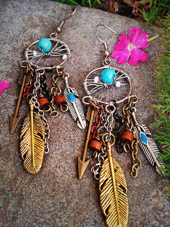 Gypsy Dream Catcher Earrings on Etsy, $21.00