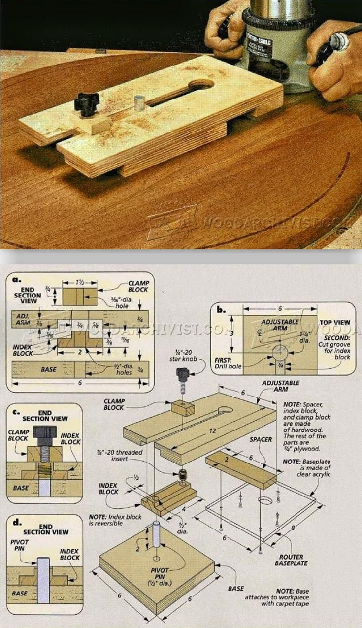 Router Trammel Jig Plans - Router Tips, Jigs and Fixtures | WoodArchivist.com