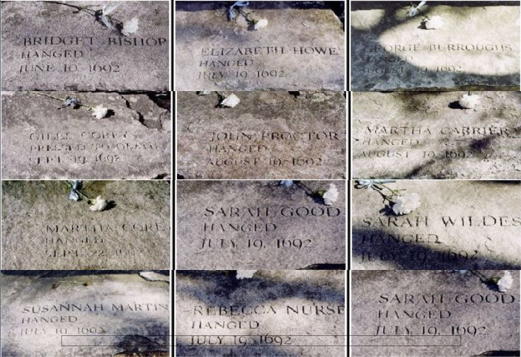 Salem witch tombstones - people who were put to death for religion-based lies.