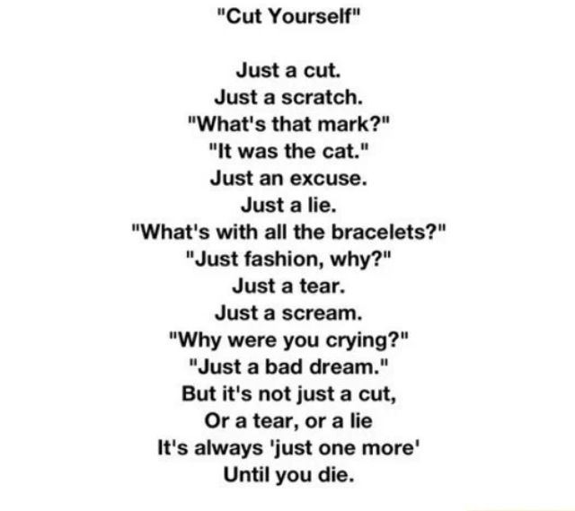 "Sad Quotes About Cutting: ""Cut Yourself"" Is A Horribly Beautiful Poem About"