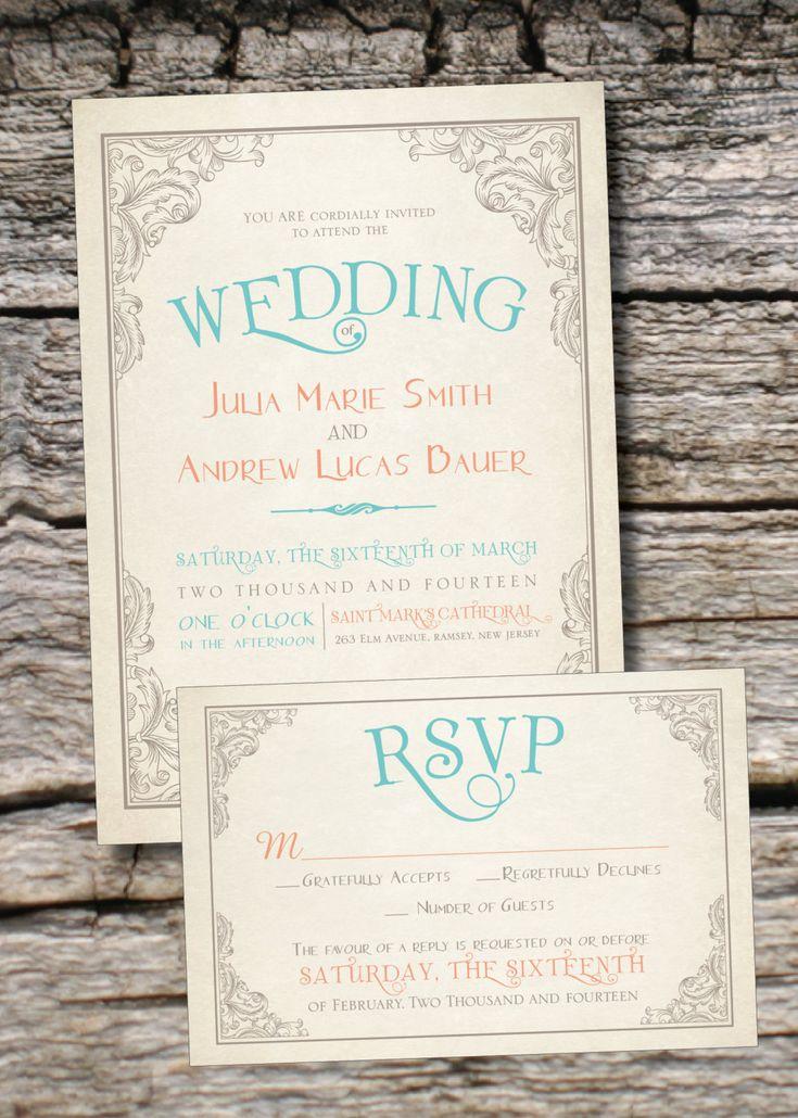 ELEGANT SCROLL Vintage Rustic Wedding Invitation/Response Card - 100 Professionally Printed Invitations & Response Cards via Etsy.
