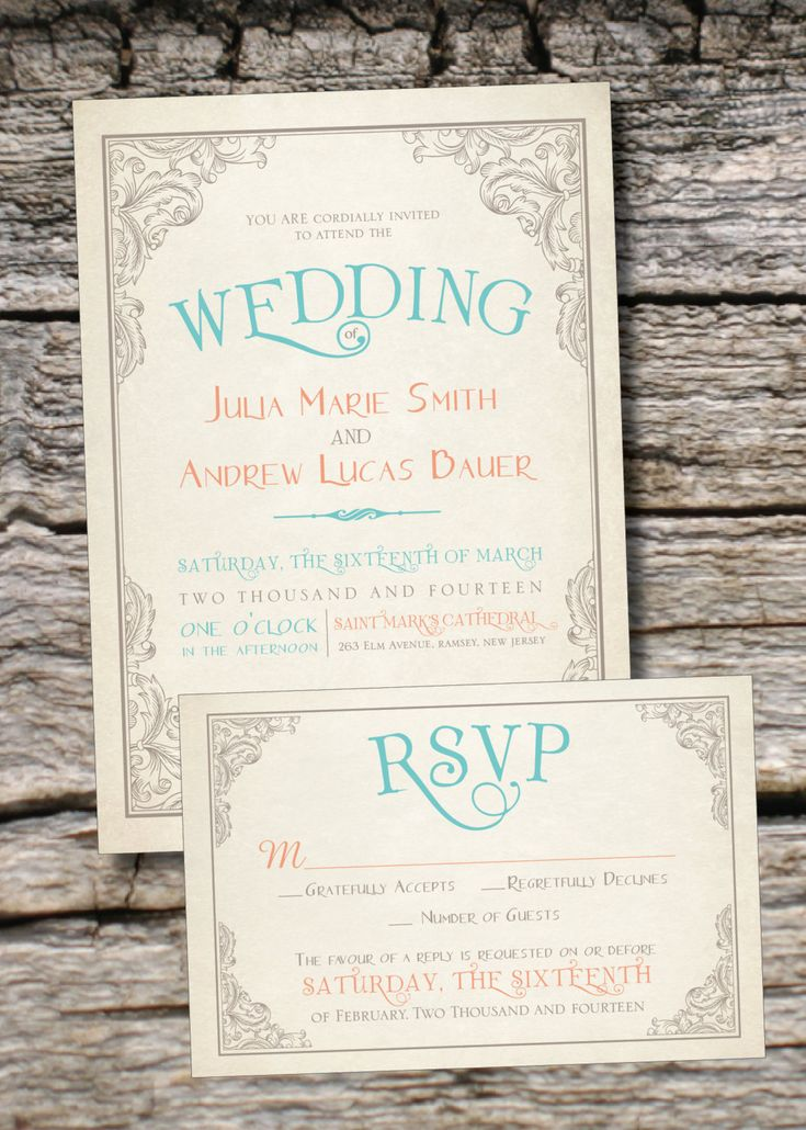 ELEGANT SCROLL Vintage Rustic Wedding Invitation/Response Card - 100 Professionally Printed Invitations & Response Cards via Etsy.
