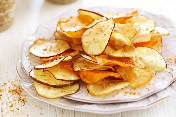 Slice and fry in-season sweet potato to create tasty crisps for an easy afternoon snack.