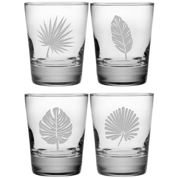 Tropical Foilage DOF Glasses Set of 4 (€44) ❤ liked on Polyvore featuring home, kitchen & dining and drinkware
